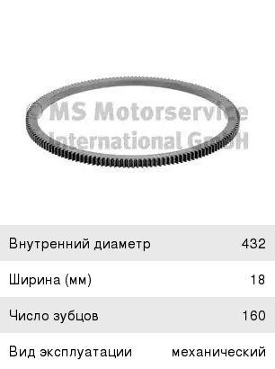Венец маховика MAN TGA (Z=160 d=485/432мм) без отверстий BF 20090340302, 123176, 51023100097