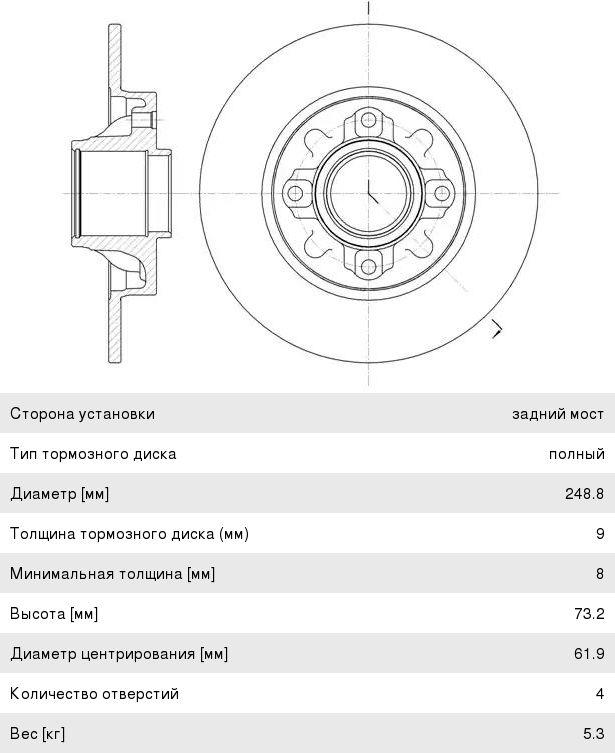 Диск тормозной PEUGEOT 308 CITROEN C4,DS4 задний (1шт.) REMSA 6106000, DF6042BS, 4249.66/4249.65