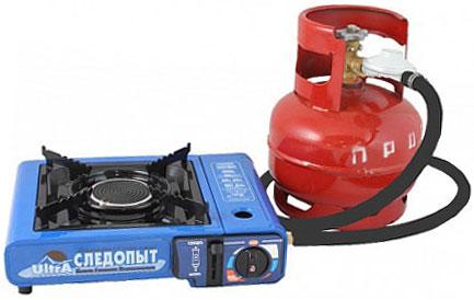 Портативная газовая плита с универсальным питанием, подключенная к газовому баллону 5 л