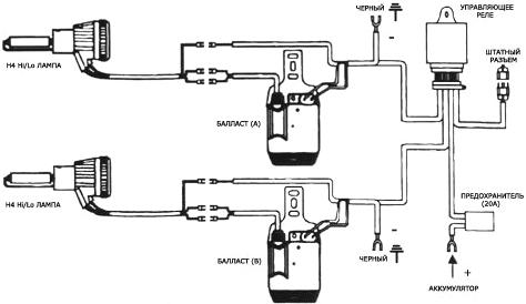 Схема подключения блока розжига в монобловном исполнении (по одному на лампу)