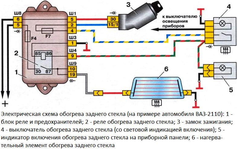 Схема управления обогревом заднего стекла