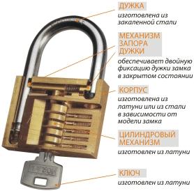 Типовая конструкция навесного замка открытого типа